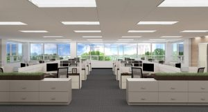 office with rows of desks