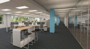 office with stools and blue columns